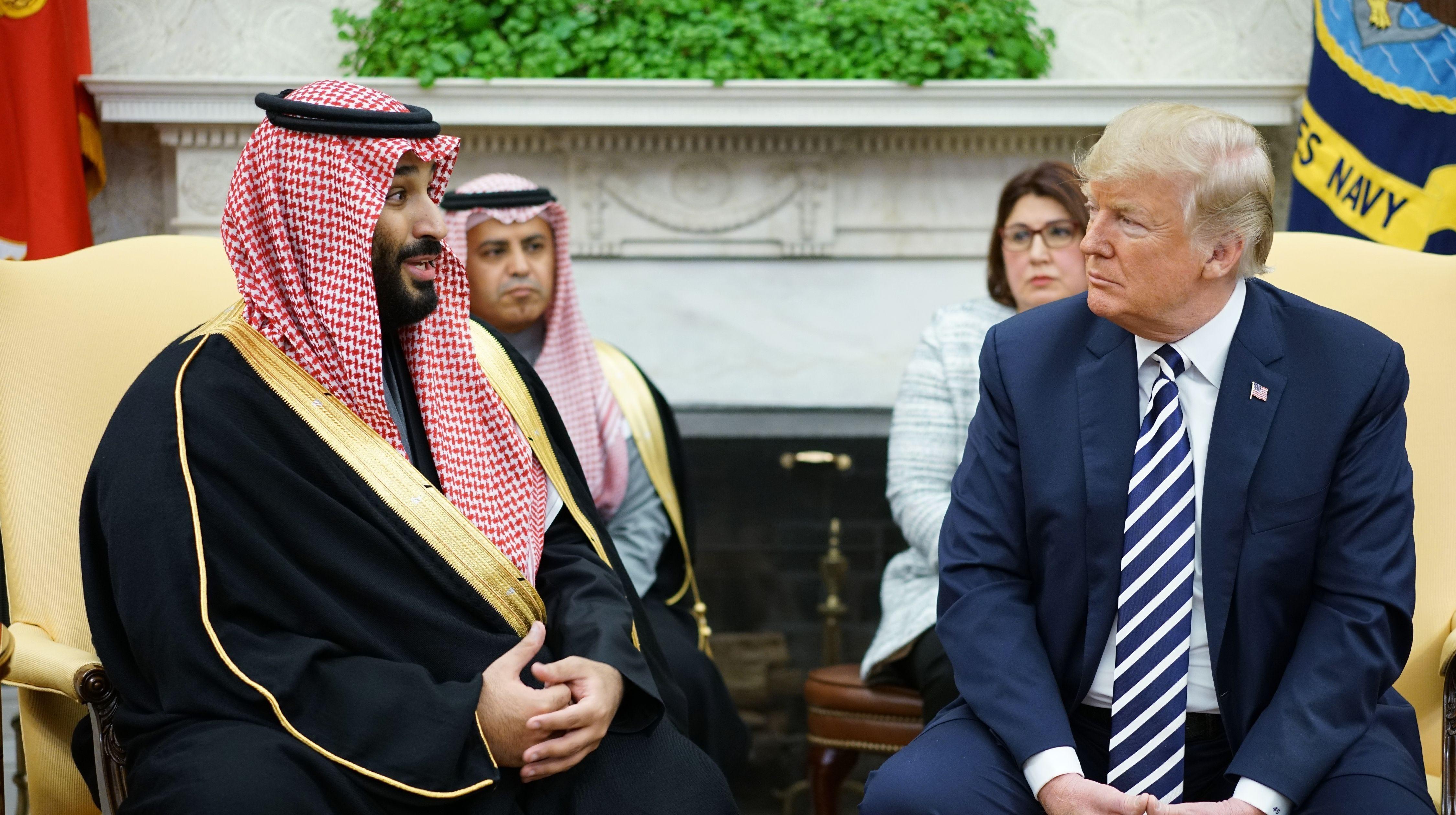 President Donald Trump and Saudi Crown Prince Mohammed bin Salman on March 20, 2018.