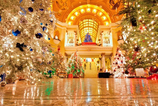 a forest of nearly 100 christmas trees transforms the south dakota state capitol in pierre every