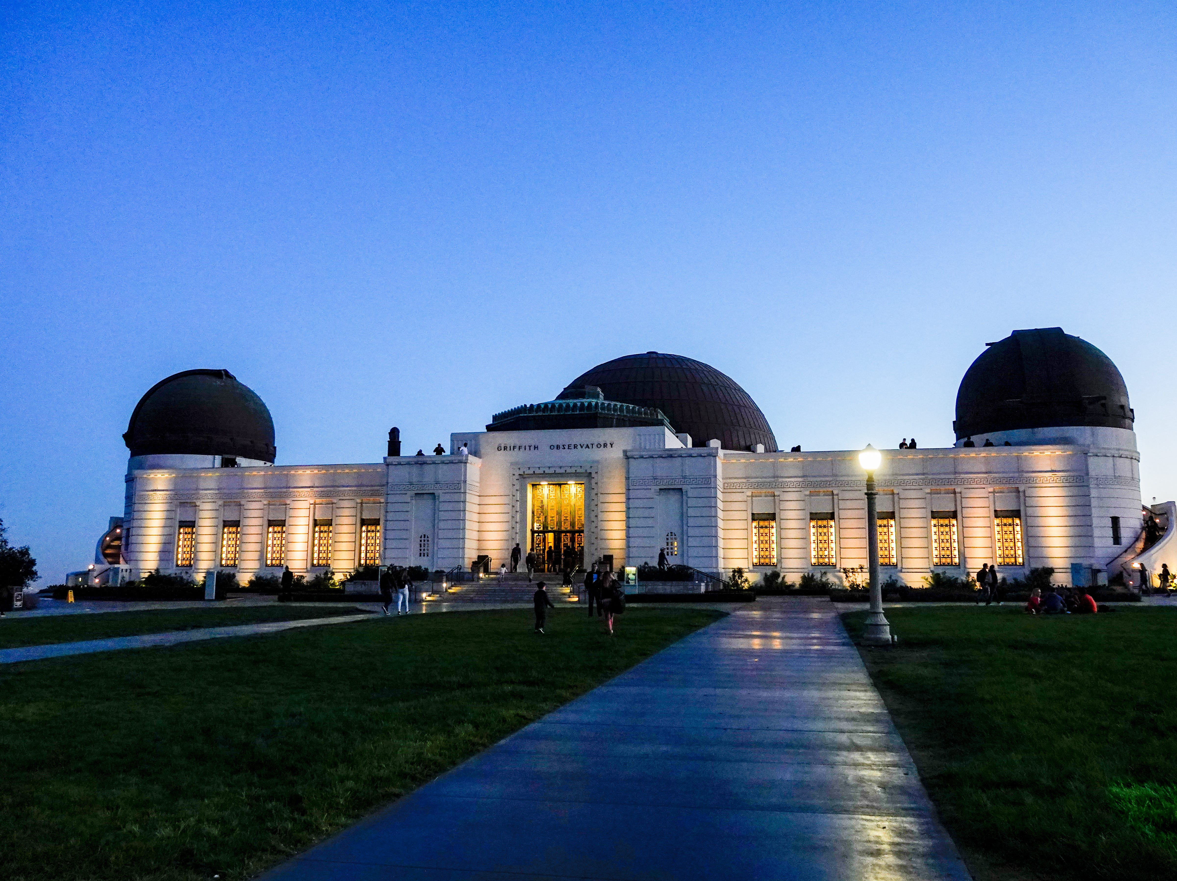 The Observatory by night, just after sunset