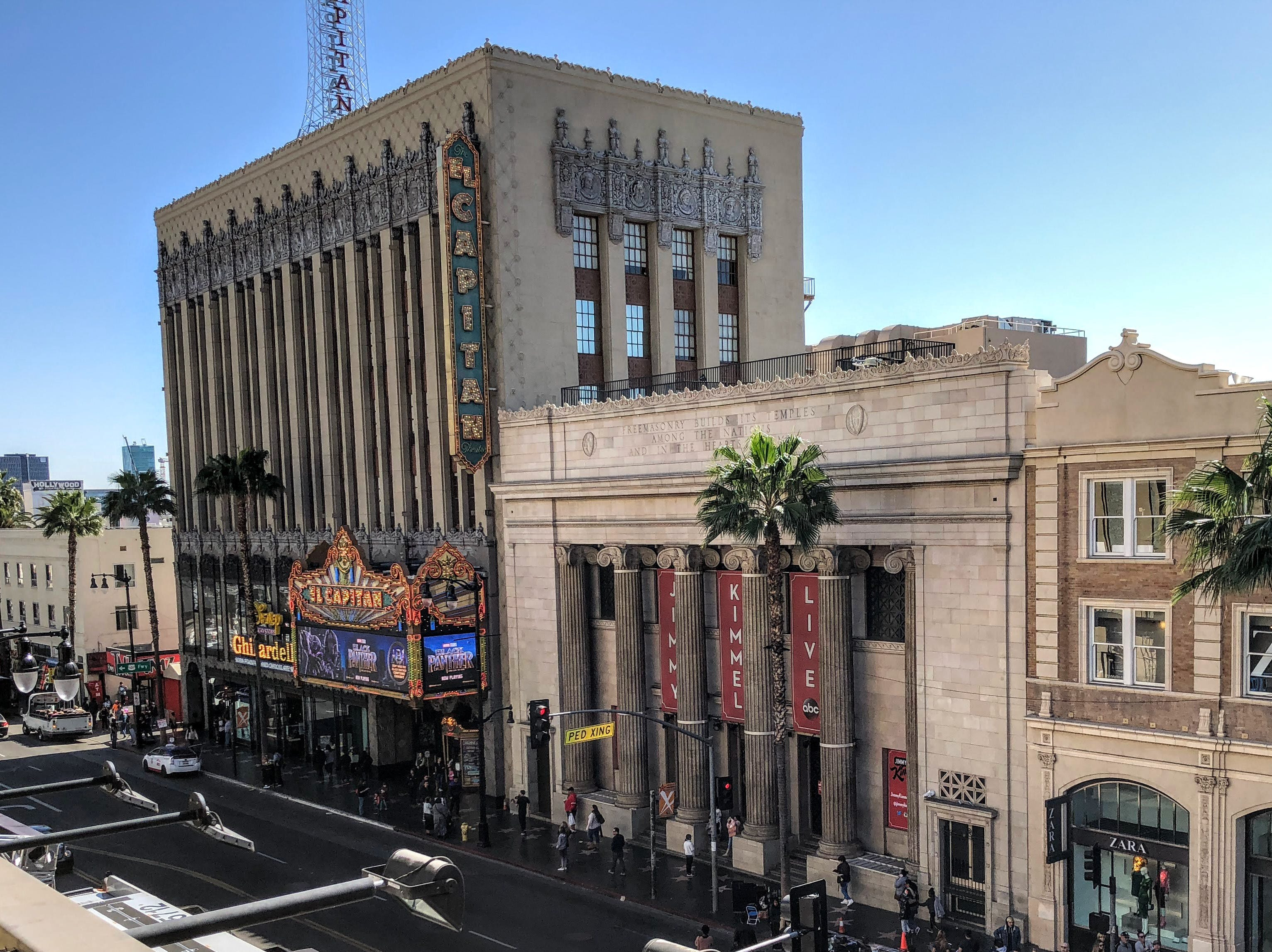 The El Capitan Theater, where Disney movies play and ABC's Jimmy Kimmel Live is taped.