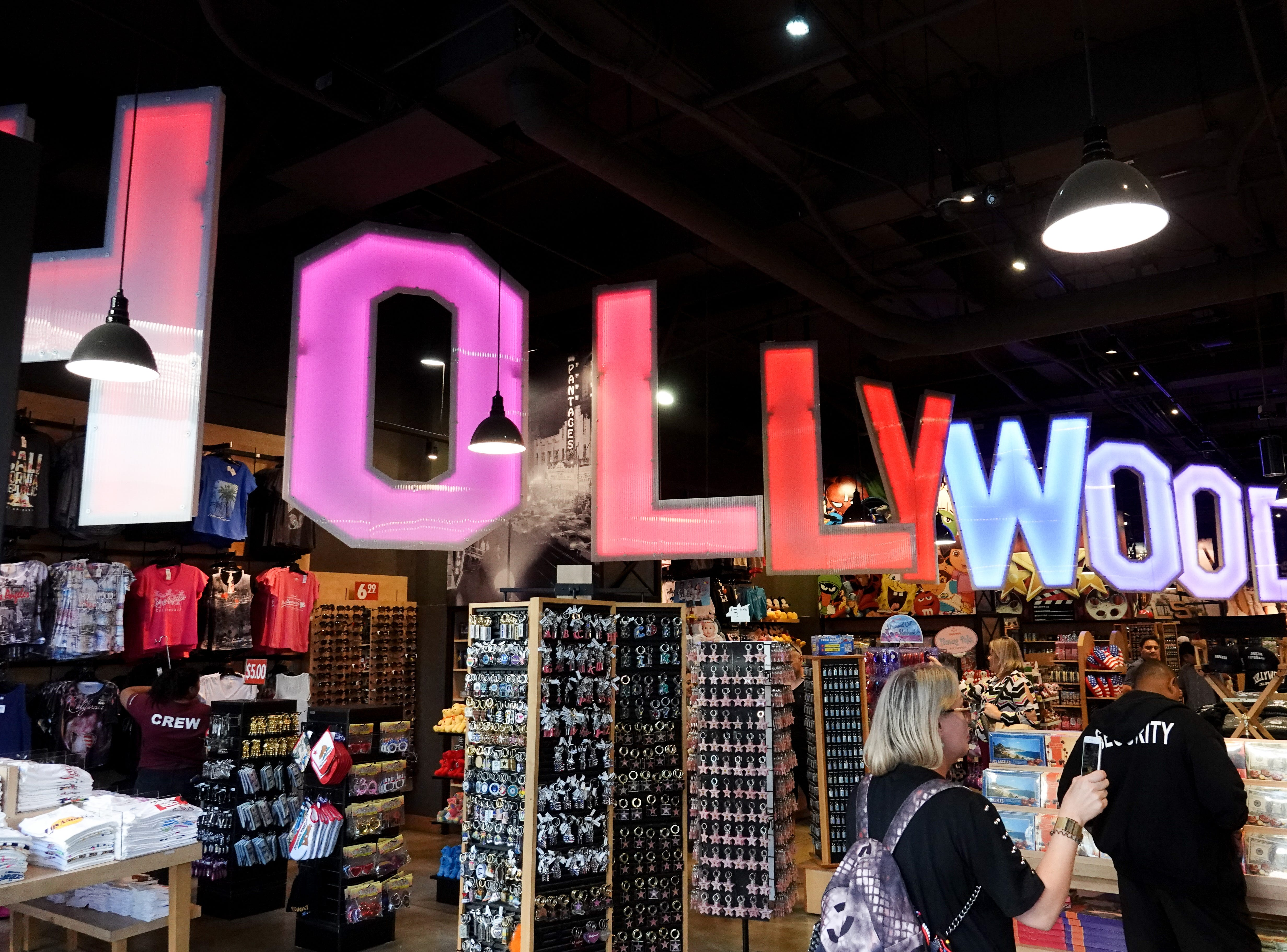 Next stop: Hollywood. A Hollywood gift shop recreates the classic Hollywood sign