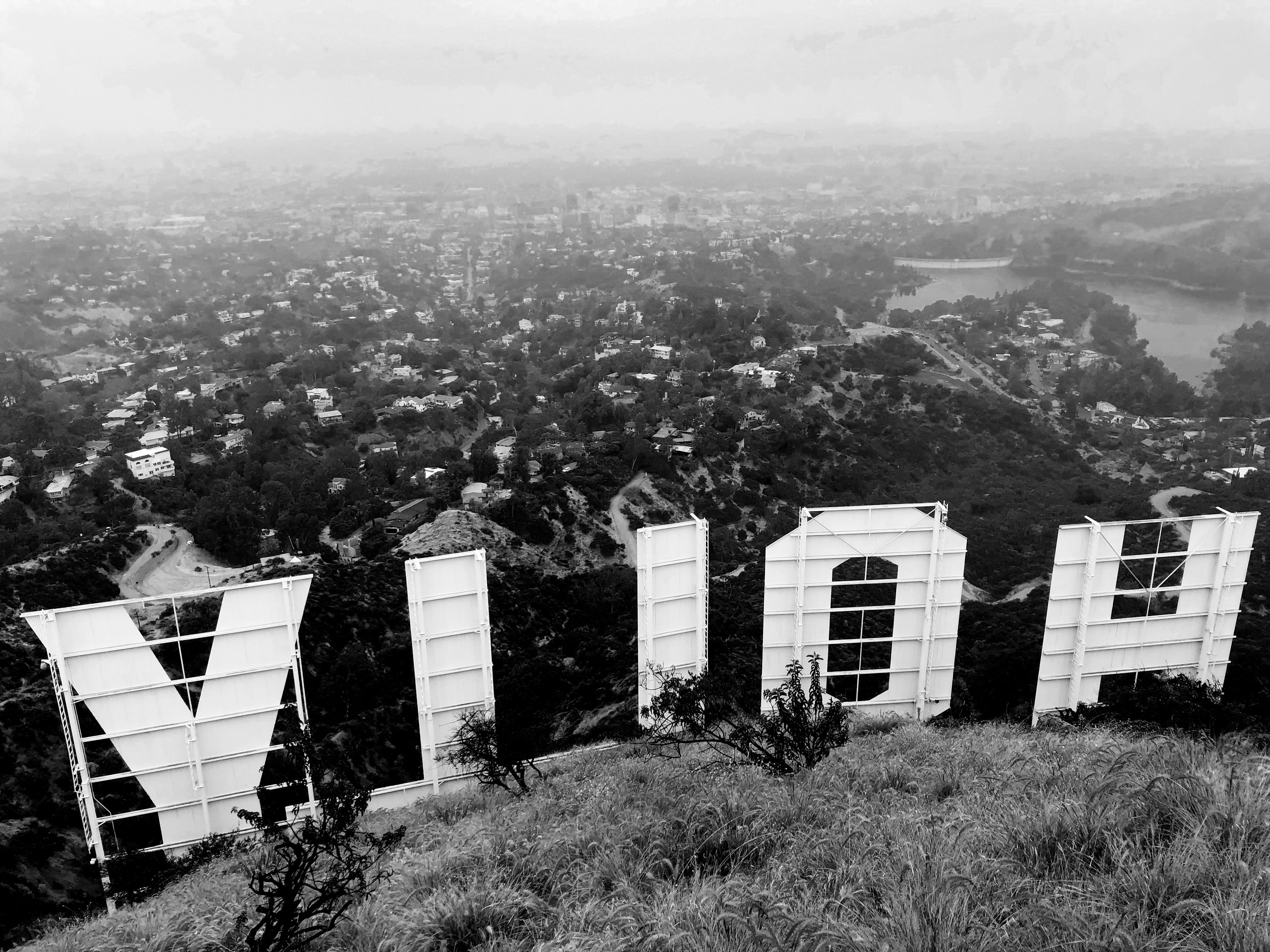 The back of the Hollywood sign, viewable from a Griffith Park hike