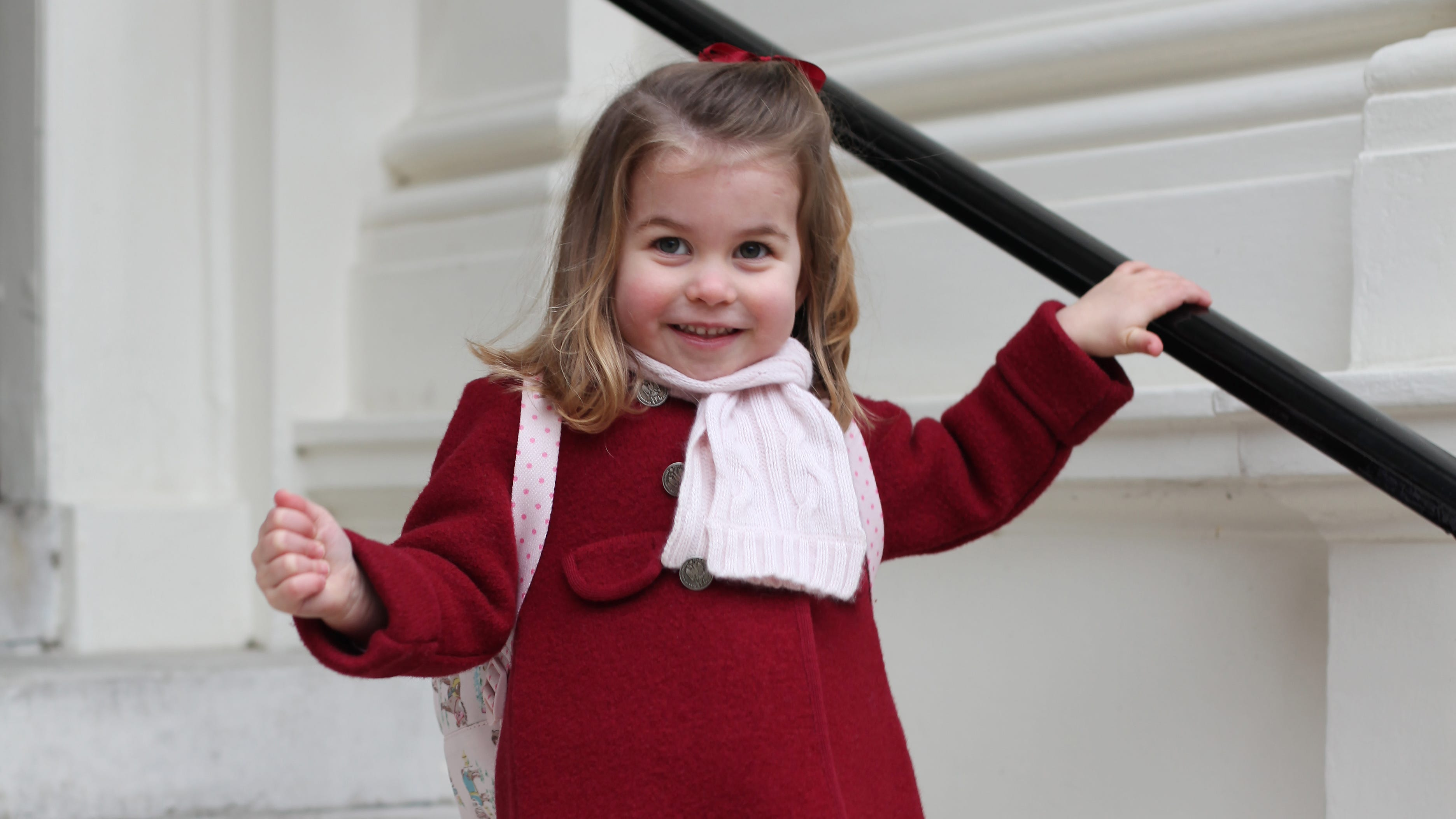 Duchess Kate snapped this photo of Princess Charlotte on her first day at the Willcocks Nursery School on Jan. 8, 2018.