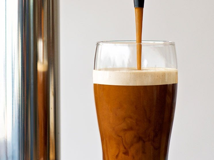 NITRO Beverage Co.'s cold-brewed coffee is infused with nitrogen, which makes for a creamy head, like a glass of Guinness.