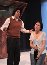 """Robert (Gus Rios) exhorts his daughter Catherine (Ashleigh Moss) on the occasion of her birthday just after his death in this rehearsal scene from McMurry University's production of """"Proof."""""""