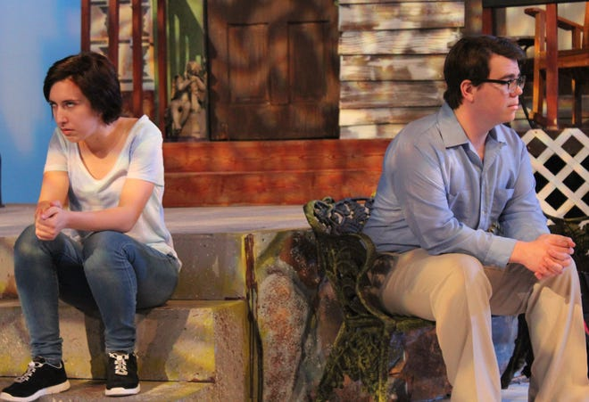 "Catherine (Ashleigh Moss, left) and Hal ( Kevin Roberts) express their disconnect in their seating postures in this rehearsal scene from ""Proof,"" McMurry University's drama that opens a two-weekend run Thursday."