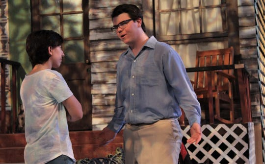 """Hal (Kevin Roberts, right) is confronted by Catherine (Ashleigh Ross) about the whereabouts of her late father's notebooks in this rehearsal scene of """"Proof,"""" McMurry University's late fall drama that opens this weekend."""