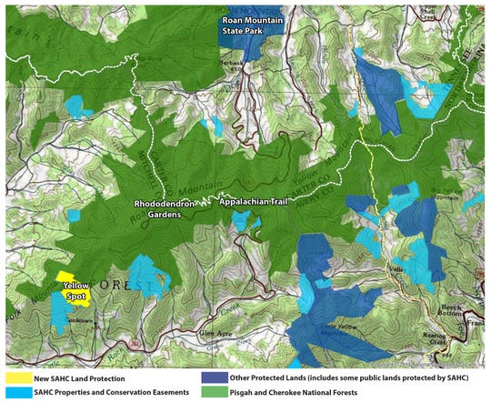 The SAHC, an Asheville-based land trust, has purchased 234 acres for permanent conservation on Yellow Spot, which adjoin Pisgah National Forest in Mitchell County.
