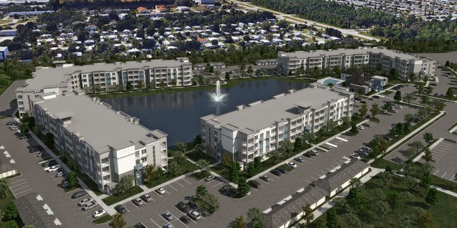This artist's rendering depicts the Aqua apartment complex off Robert J. Conlan Boulevard in Palm Bay.