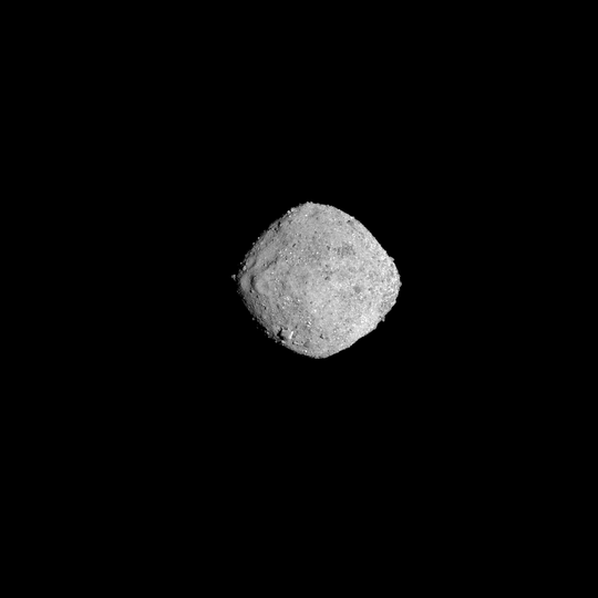 NASA's OSIRIS-REx spacecraft obtained this image of the asteroid Bennu on November 16, 2018, from a distance of 85 miles (136 km). The image, which was taken by the PolyCam camera, shows Bennu at 300 pixels and has been stretched to increase contrast between highlights and shadows.