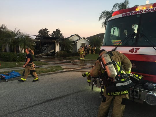 Firefighters responded to a fire at a home in Viera on Tuesday.