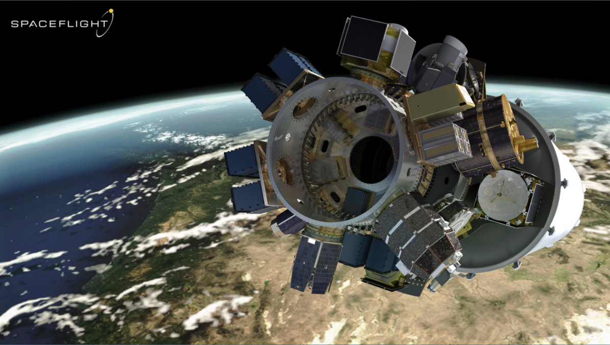 A rendering of Spaceflight's spacecraft, which come from a variety of organizations and countries, in orbit on the second stage of a SpaceX Falcon 9 rocket.