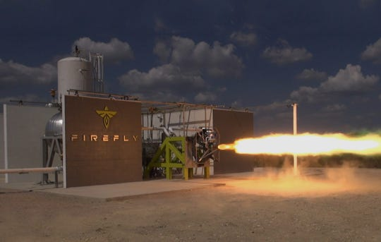 A rocket engine test performed by Firefly Aerospace. The company is developing a rocket for launches of small satellites and has said it is considering Cape Canaveral as a potential launch site.