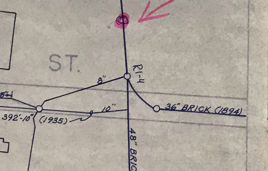 Sewer pipes dating back to 1894 are seen on this map of Rutland's wastewater treatment system on Nov. 19, 2018.