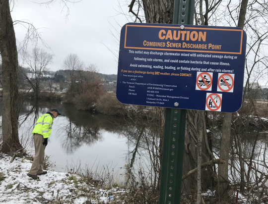 Jeff Wennberg, commissioner of City of Rutland Public Works, views a combined sewer-stormwater overflow site near Otter Creek on Nov. 19, 2018.