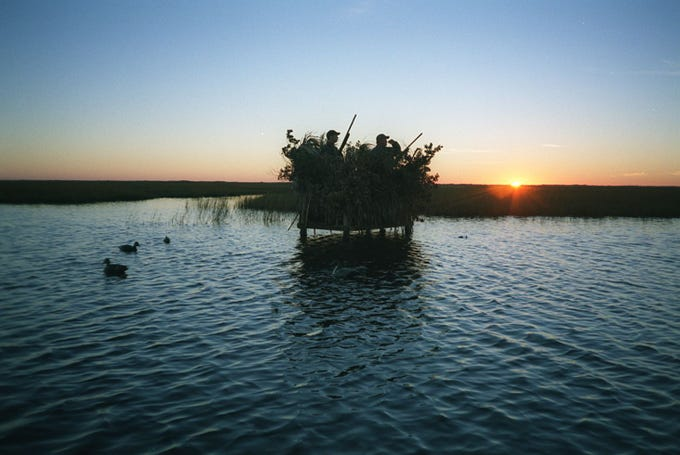 Texas allows hunters to build a duck blind almost anywhere in coastal waters.