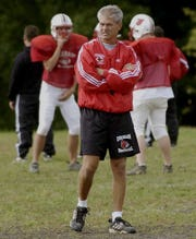 2003.1001.13ditphoto-Colerain-Colerain H.S Kerry Coombs keeps an eye on his team on Wed October 1, 2003. At Colerain H.S. C-E photo by Ernest Coleman for sports.