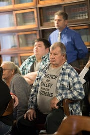 "Father of Dana Rhoden Manley, Leonard Manley, wears a ""Justice for Gilley and the Rhodens"" t-shirt during the arraignment of Edward ""Jake"" Wagner at the Pike County Courthouse on Tuesday, November 27, 2018 in Waverly, Ohio."