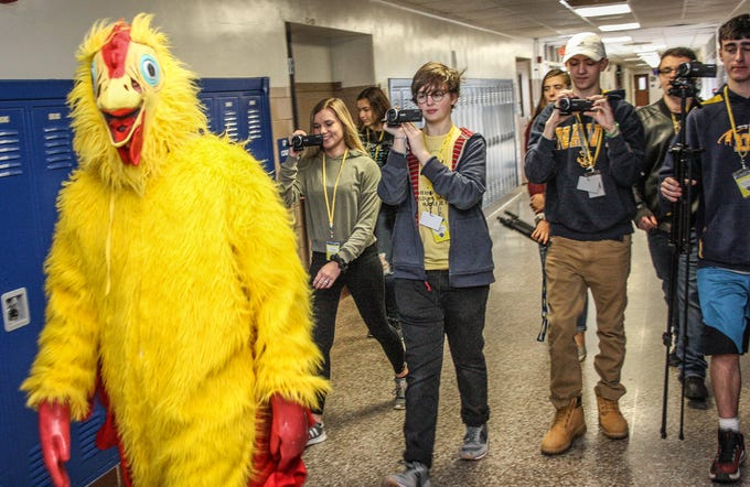 Delaware Valley High School senior Morgan Middleberg got 10 staff members to wear a chicken suit to raise money in the school's Key Club effort, which raised $230 for Swansboro High School, which was recently ravaged by Hurricane Florence.