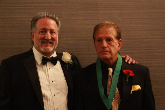 Joe Nisivoccia (left) and his brother Gerry at the National Wrestling Hall of Fame induction in September 2018.
