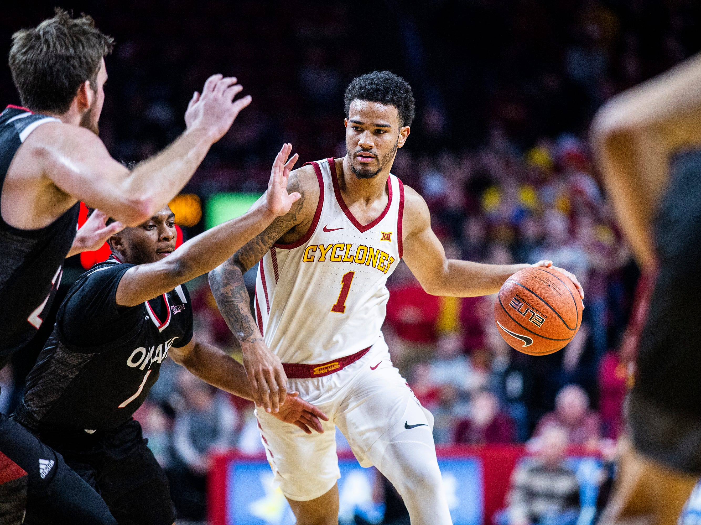 Iowa State's Nick Weiler-Babb brings the ball down the court during the Iowa State men's basketball game against Omaha on Monday, Nov. 26, 2018, at Hilton Coliseum, in Ames.