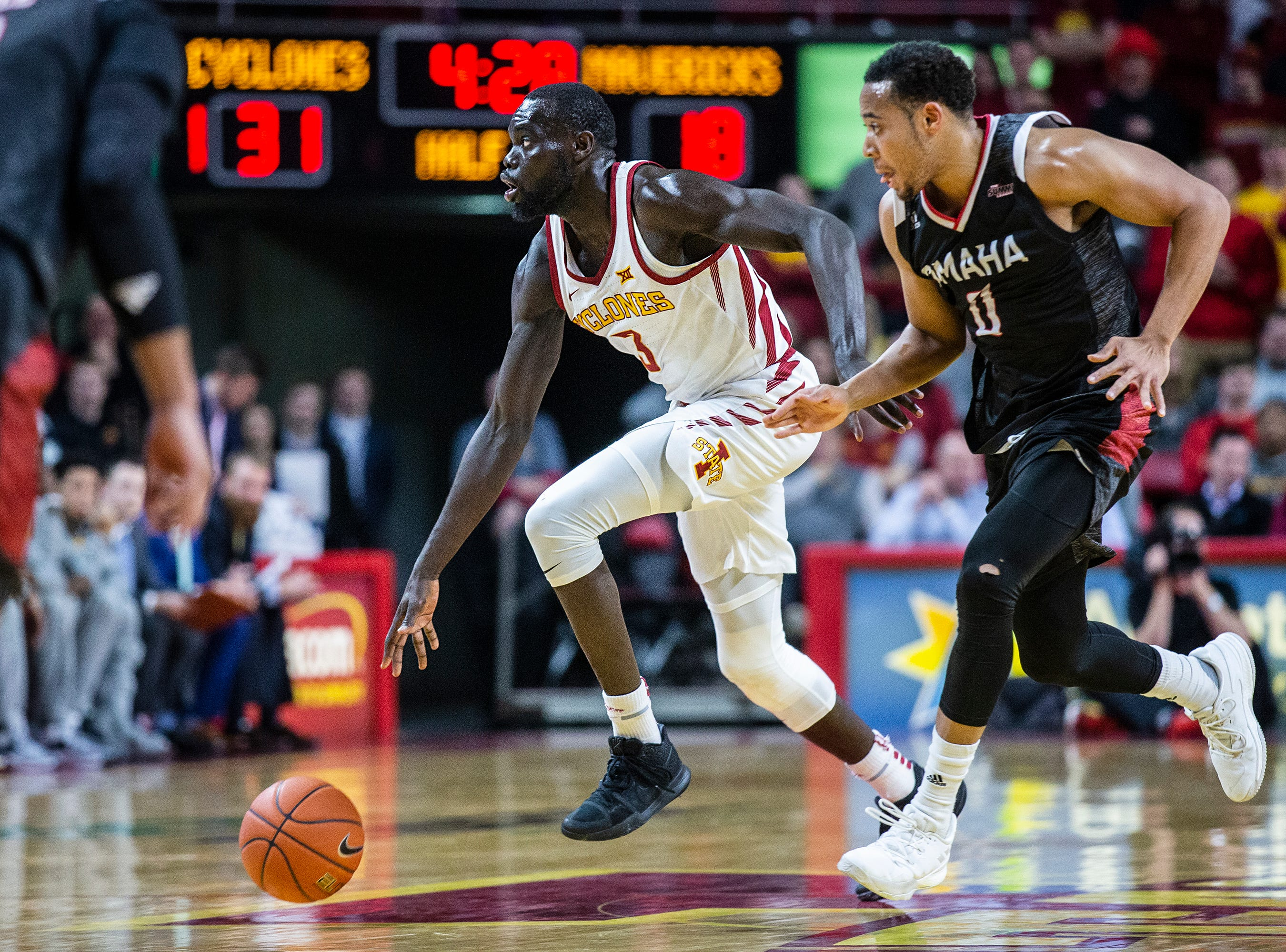 Iowa State's Marial Shayok brings the ball across the court during the Iowa State men's basketball game against Omaha on Monday, Nov. 26, 2018, at Hilton Coliseum, in Ames.