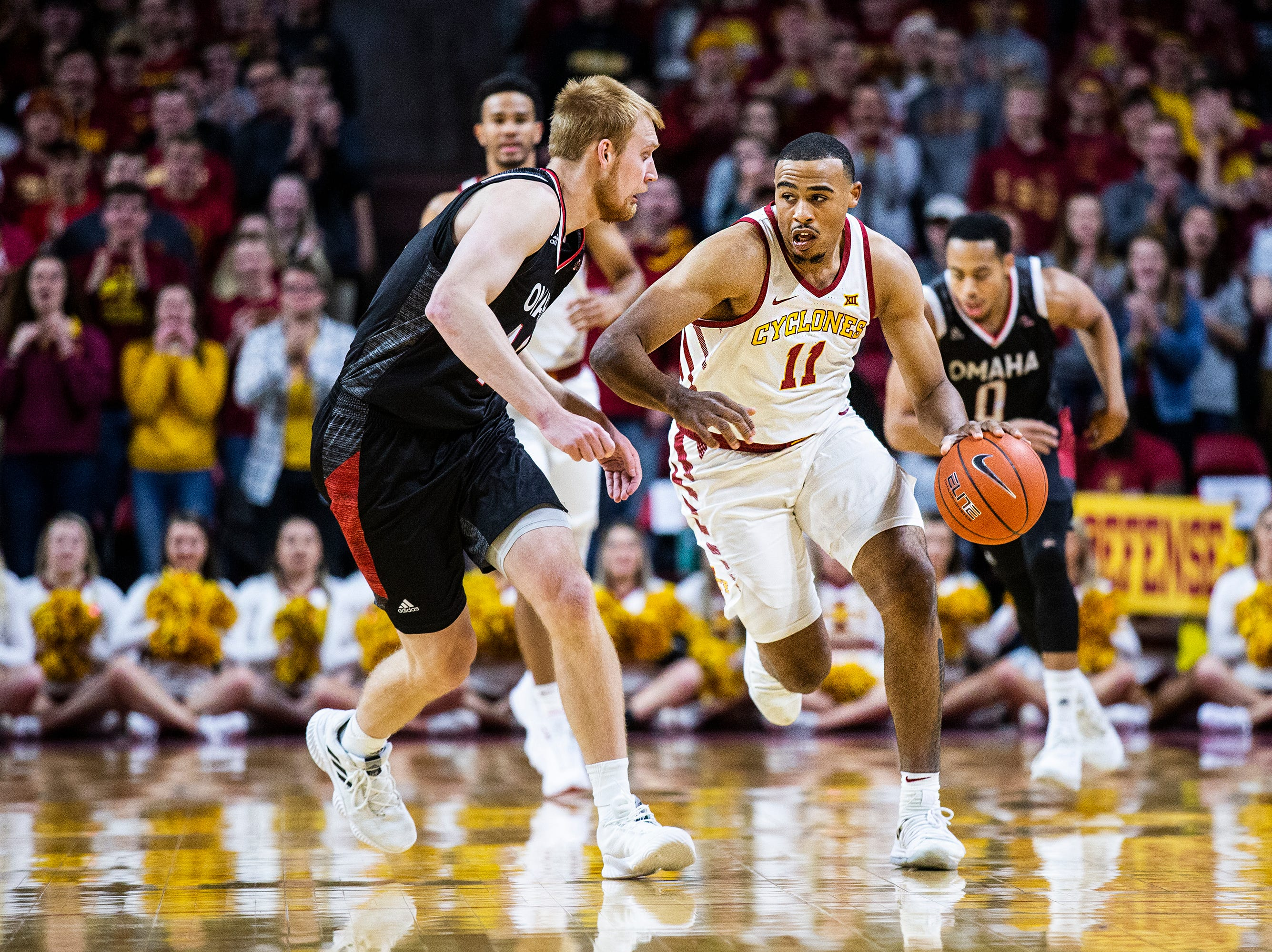 Iowa State's Talen Horton-Tucker brings the ball down the court during the Iowa State men's basketball game against Omaha on Monday, Nov. 26, 2018, at Hilton Coliseum, in Ames.
