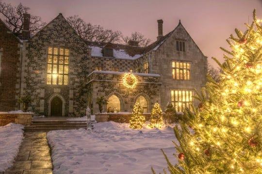 Salisbury House Exterior Winter Holiday Night