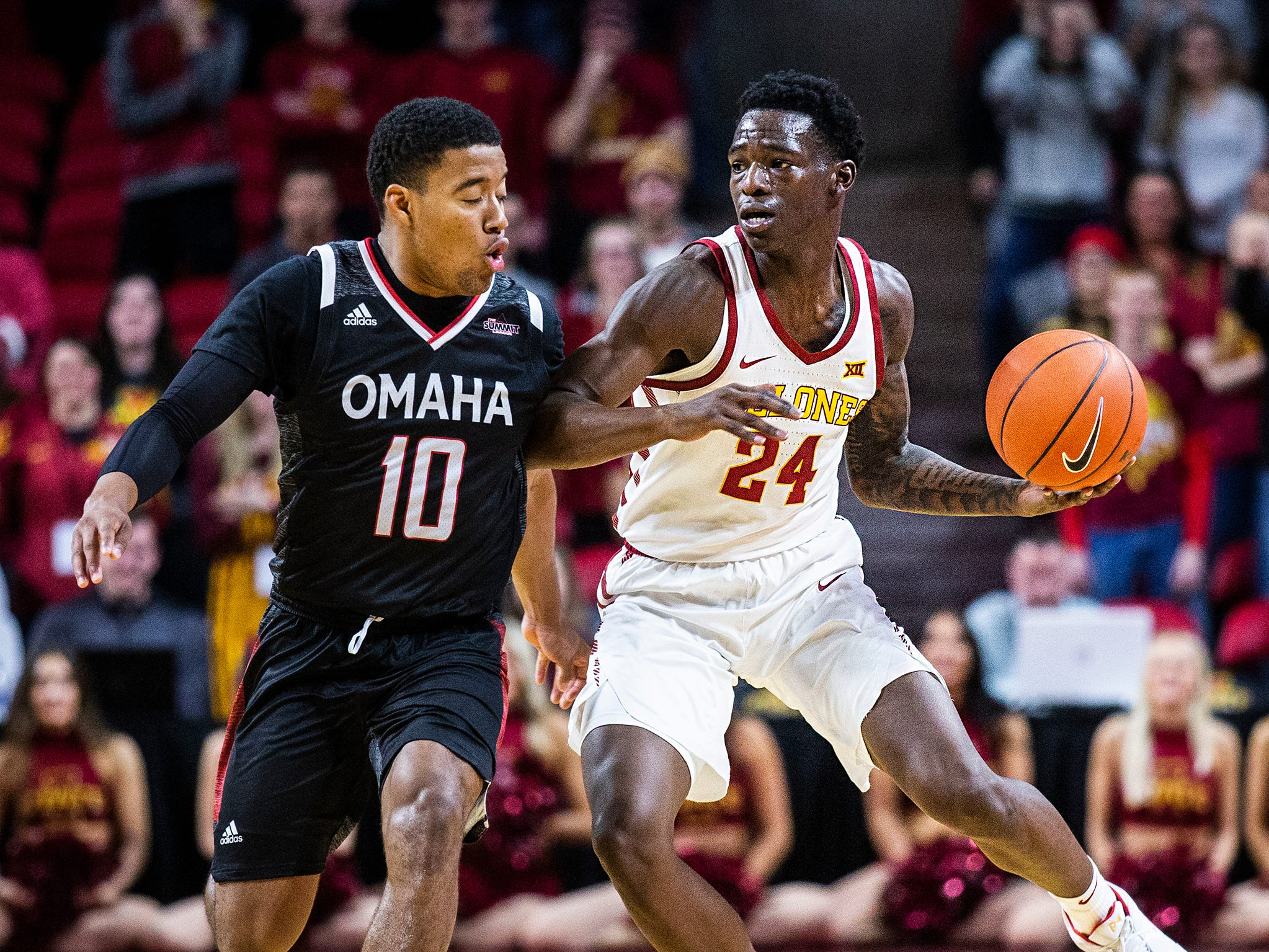 Iowa State's Terrence Lewis brings the ball down the court during the Iowa State men's basketball game against Omaha on Monday, Nov. 26, 2018, at Hilton Coliseum, in Ames.
