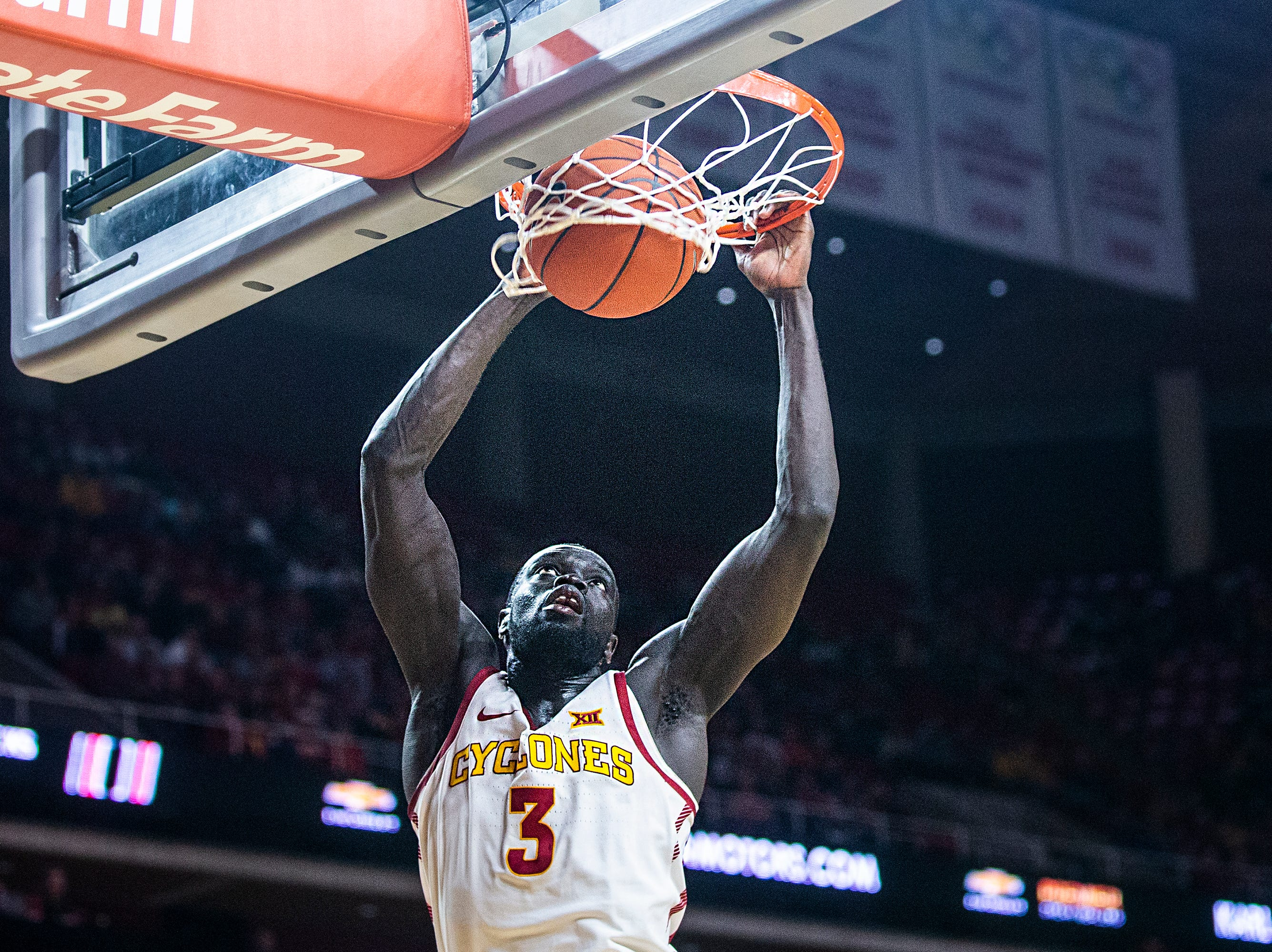 Iowa State's Marial Shayok dunks the ball during the Iowa State men's basketball game against Omaha on Monday, Nov. 26, 2018, at Hilton Coliseum, in Ames.