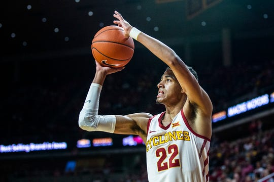 Iowa State's Tyrese Haliburton makes a three-pointer during the Iowa State men's basketball game against Omaha on Monday, Nov. 26, 2018, at Hilton Coliseum, in Ames.