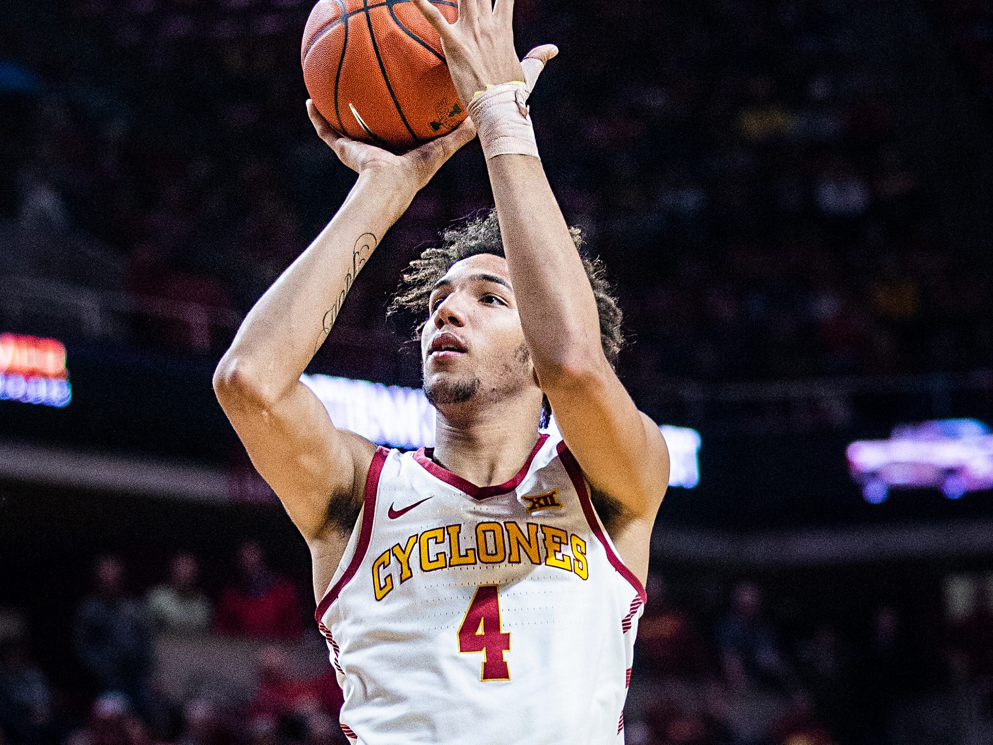 Iowa State's George Conditt shoots the ball during the Iowa State men's basketball game against Omaha on Monday, Nov. 26, 2018, at Hilton Coliseum, in Ames.