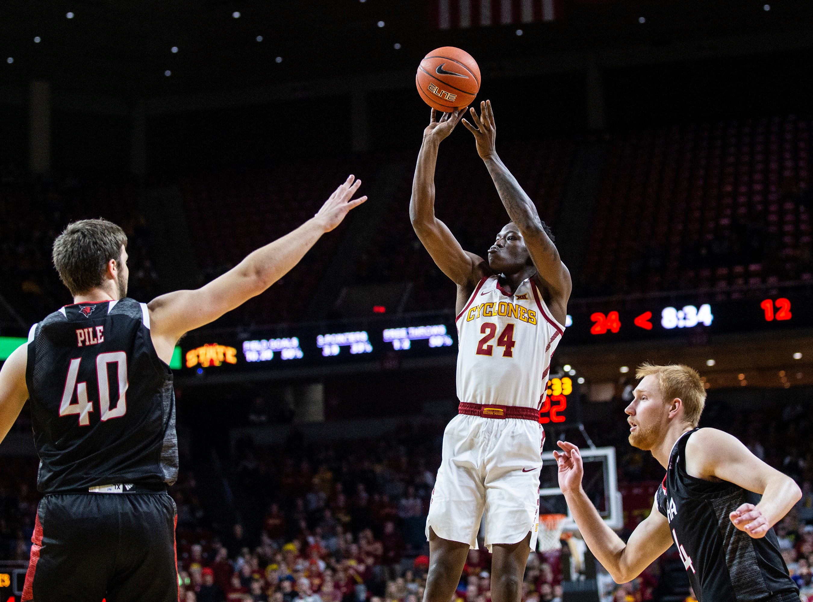 Iowa State's Terrence Lewis makes a jump-shot during the Iowa State men's basketball game against Omaha on Monday, Nov. 26, 2018, at Hilton Coliseum, in Ames.