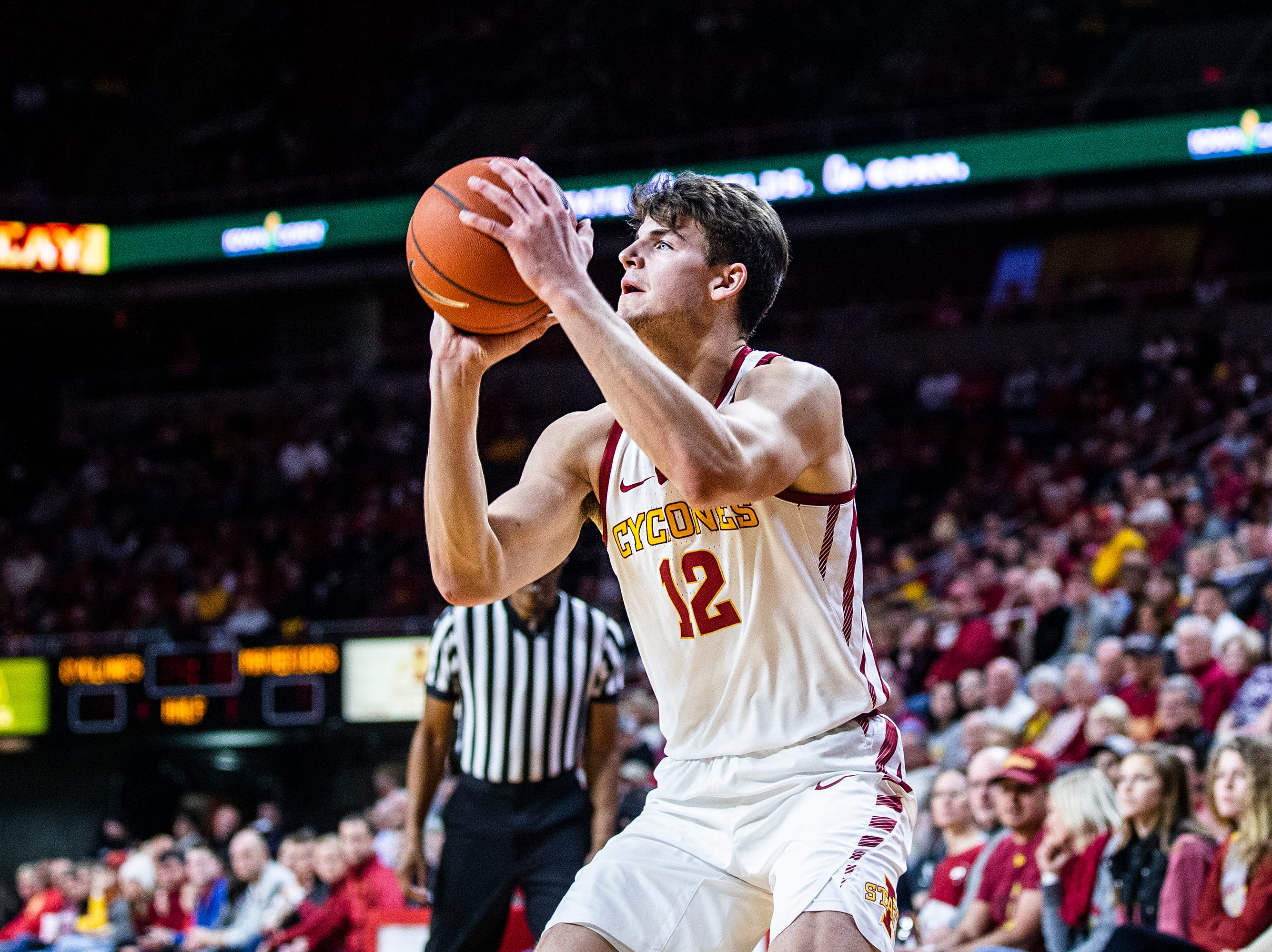 Iowa State's Michael Jacobson shoots the ball during the Iowa State men's basketball game against Omaha on Monday, Nov. 26, 2018, at Hilton Coliseum, in Ames.