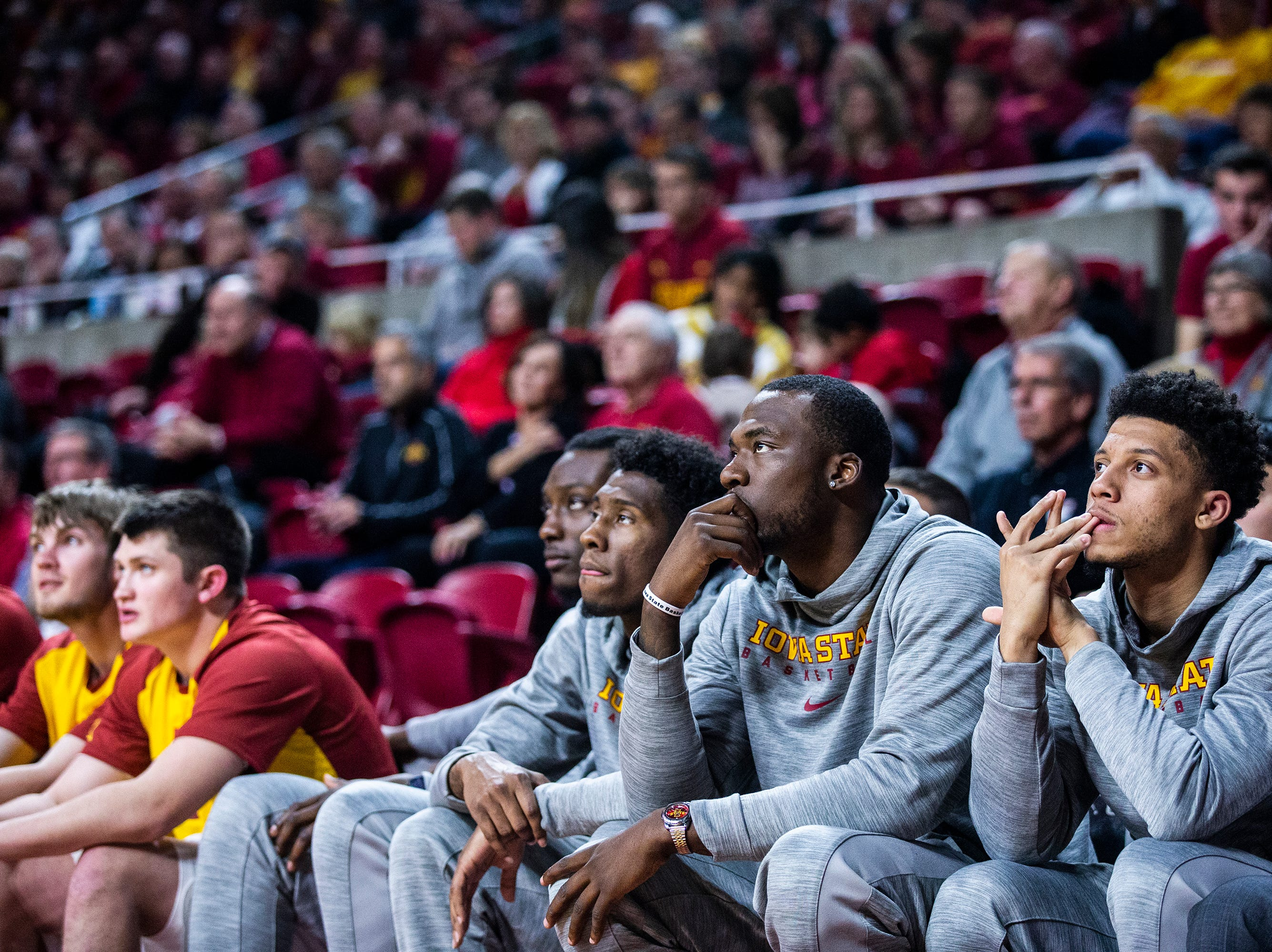 Iowa State's Solomon Young, Zoran Talley Jr., Cameron Lard, and Lindell Wigginton sit on the bench during the Iowa State men's basketball game against Omaha on Monday, Nov. 26, 2018, at Hilton Coliseum, in Ames.