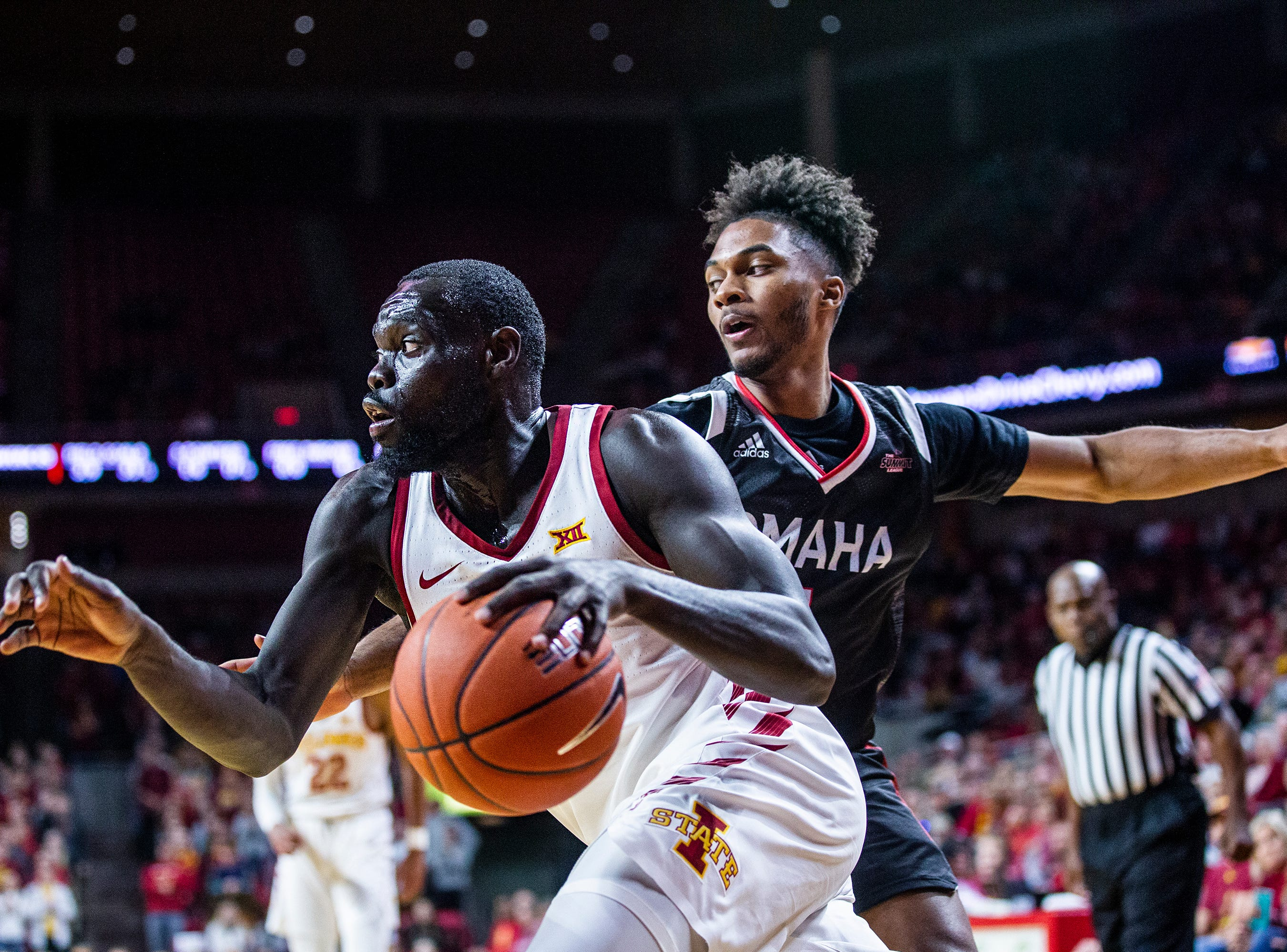 Iowa State's Marial Shayok drives toward the hoop during the Iowa State men's basketball game against Omaha on Monday, Nov. 26, 2018, at Hilton Coliseum, in Ames.