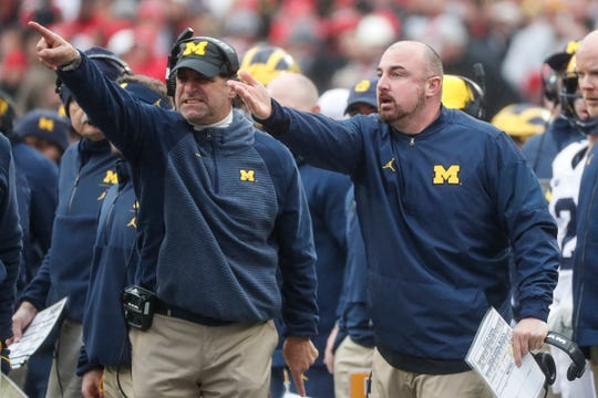 Michigan cornerback coach Michael Zordich, left, and safeties coach and special team coordinator Chris Partridge react to a call by the referee during the first half against Ohio State at Ohio Stadium in Columbus, Ohio, Saturday, Nov. 24, 2018.