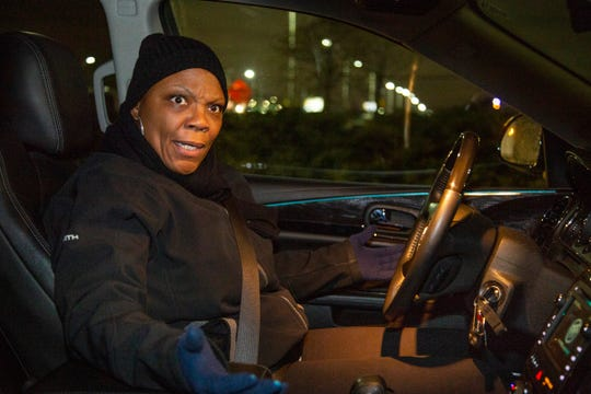 "Dnitra Landon, 55, of Redford, makes her way to GM's Detroit-Hamtramck Assembly Plant in her 2017 Buick Enclave to work the line on Tuesday, Nov. 27, 2018, a day after massive layoffs were announced by the company. ""I am pissed"" said Landon who was informed by GM's decision by the news and not the company directly."