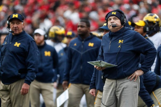 Michigan defensive coordinator Don Brown watches replay on the screen during the first half against Ohio State at Ohio Stadium in Columbus, Ohio, Saturday, Nov. 24, 2018.