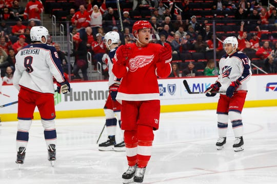 Red Wings right wing Gustav Nyquist celebrates his goal against the Blue Jackets on Monday.