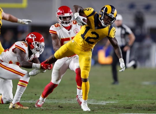 Brandin Cooks of the Los Angeles Rams runs for a first down against the Kansas City Chiefs earlier this month.