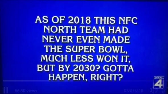 """A """"Jeopardy!"""" question from the episode that aired Monday, Nov. 26, 2018, featured the Detroit Lions."""