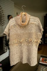 This knitted top, made with handspun yarn, is another one of Jones' creations.