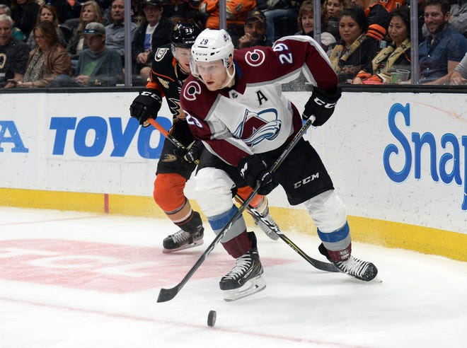 Nathan MacKinnon, shown during a Nov. 18 game at the Anaheim Ducks, and his Colorado Avalanche teammates will host the Pittsburgh Penguins in a 7:30 p.m. game Wednesday night at the Pepsi Center in Denver.
