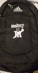"""Family and friends of John Robert """"J.R."""" Jones donated backpacks to the Mariner High School basketball team in his honor. His """"Respect"""" tattoo is featured on them."""