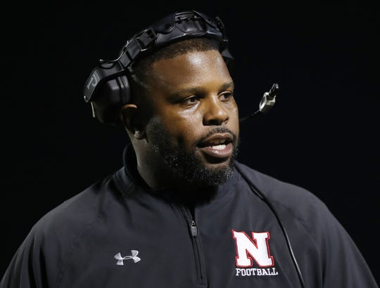 North Fort Myers High School coach Dwayne Mack leads the Red Knights against Naples on Friday in the Class 6A regional final at Staver Field in Naples. Naples beat North 23-0. Kobylanski got injured in the first quarter.