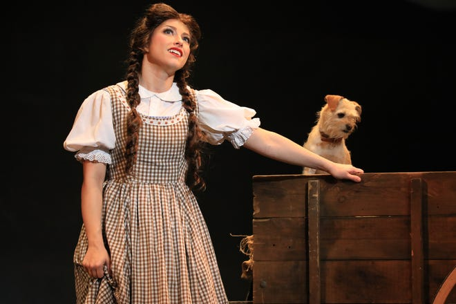 """Kalie Kaimann and Murphy play Dorothy and Toto in Prather Touring Company's """"The Wizard of Oz"""""""