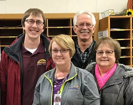 Cyndi Dart, front left, will receive the 2018 Spartan Spirit Award from the Luxemburg Area Chamber of Commerce.  Also shown are chamber President Alex Stodola, back left, and chamber board members Ted Stodola and Jean Dax.