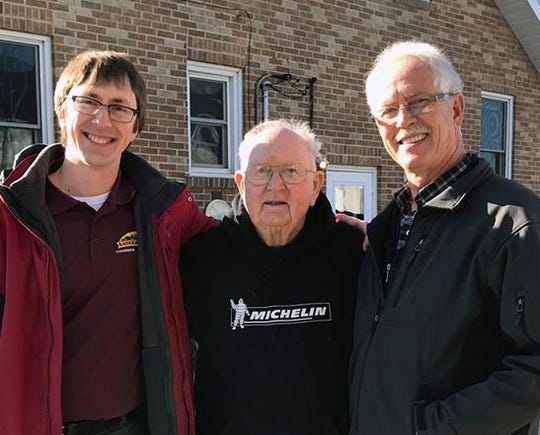 Jerry Simonar, center, was named Person of the Year by the Luxemburg Area Chamber of Commerce.  Also shown are chamber President Alex Stodola, left, and board member Ted Stodola.
