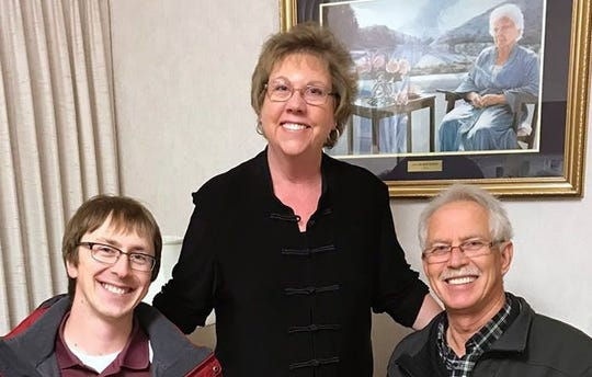 Kathy Anderson, center, will receive the 2018 Community Service Award from the Luxemburg Area Chamber of Commerce.  Also shown are chamber President Alex Stodola, left, and chamber board member Ted Stodola.